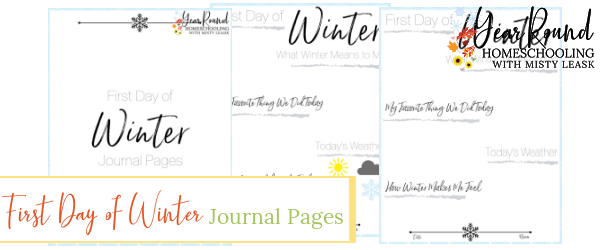 first day of winter journal pages, first day of winter journal