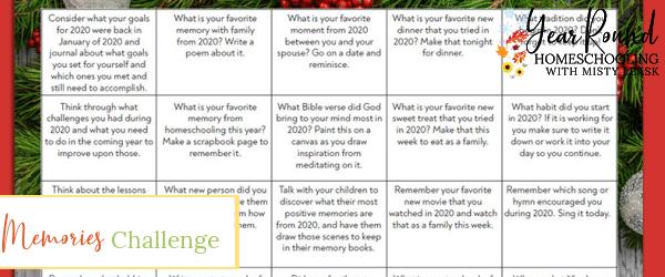 memories challenge, memories challenge calendar