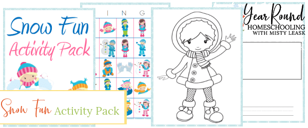 snow fun pack, snow fun activity pack, snow fun printable, snow printable, fun snow printable