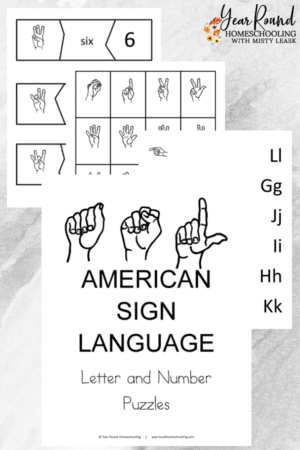 American Sign Language Letters and Numbers Puzzles Pack