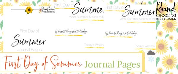 first day of summer journal, journal first day summer
