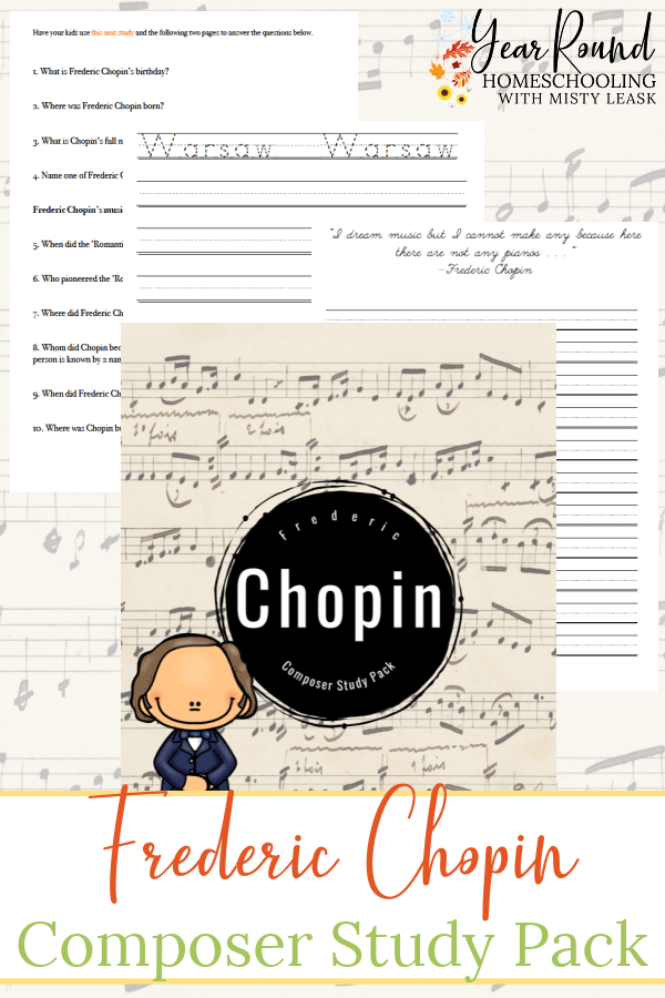 frederic chopin composer study pack, frederic chopin composer pack, chopin composer study pack, chopin composer pack