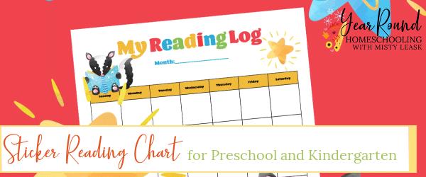 sticker reading chart, reading chart sticker, reading log, sticker reading log