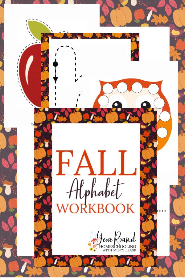 fall alphabet workbook, fall alphabet pack, workbook fall alphabet, fall alphabet printable